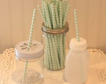 Paper Straws, 100 Mint Chevron Paper Straws, Mint Chevron Paper Straws, Drinking Straws, Wedding Drink Straw, Mason Jar Straws, Party Drinks