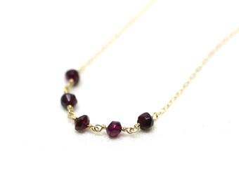 Wire Wrapped Garnet Gemstone Layering Necklace in Gold | Modern, Minimal, Fine Gold Jewelry with Semiprecious Stones | P'tite Jolie by Azki