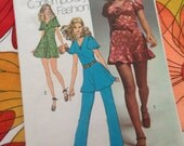 Simplicity 9714 Miss size 16 Dress,Tunic and Pants, 1971, Red HOT Figure flattering