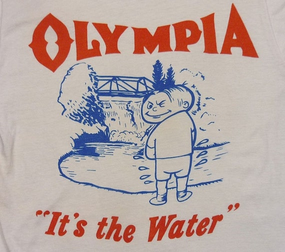 items similar to vintage 50 39 s 60 39 s olympia beer its the water t shirt on etsy. Black Bedroom Furniture Sets. Home Design Ideas