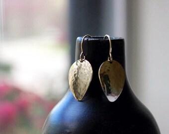 Petal Hammered Earrings - Drop Gold Earrings - 14K Goldfilled or Silver