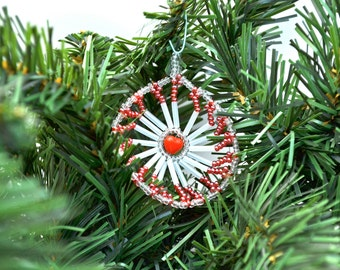 Red Heart and White  Beaded Medallion Christmas Ornament