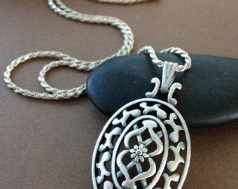 Kiara Vintage Estate Necklace - Sterling Silver Filigree Oval Pendant