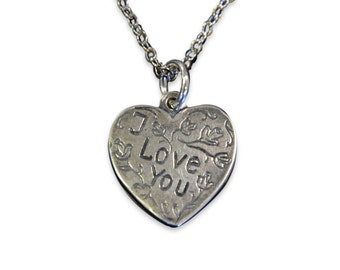 I Love You Vintage Heart Necklace Heart Charm Silver Necklace Vintage Trench Art Charm 454