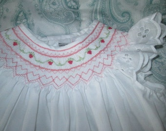 Hand Smocked Girl's Bishop Dress, Custom Made