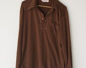 Vintage Brown Penguin Munsingwear Retro Mens Shirt Large