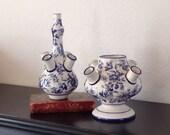 Flower Frog Double Stacking Vase Floral Forcing Vase Blue Paperwhite Spring