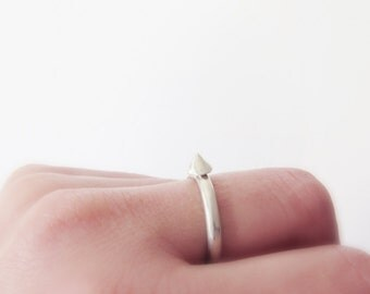 Silver Spike Ring // Edgy Minimal Stackable rings