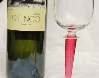 Lovely Alsace, Rhine, Port, Crystal Wine Glass with Deep Pink, Swirl Design Stem - Venetian Latticino - Special Valentine Stemware