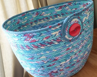 Rope Coiled Basket / Bowl / Pot / Mad About Plaid Aqua Extra Large Oval by PrairieThreads