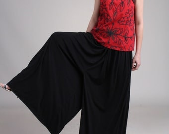 Very Wide Leg Black Pants with Pockets, Drop Crotch Long Pants, Low Crotch Long Pants, Baggy Pants, Pull On Pants / Handmade - Black Modal