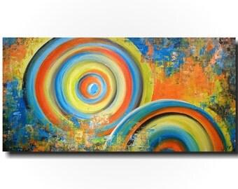 Original Large Abstract painting - 24 X 48-by Artist JMJartstudio-Feelin Fun -Wall art-wall decor - Blue painting-Oil painting- XXLpainting