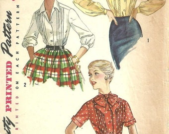 Simplicity 1729 / Vintage 50s Sewing Pattern / Blouse Shirt / Size 14 Bust 34