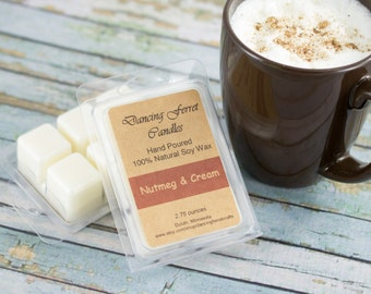 Nutmeg and Cream Scent Soy Wax Melts Tarts - Hand-poured - 100% Natural