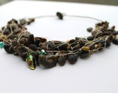 Earthy Necklace Eco Friendly Jewelry Marshy Amber Organic Style Rough Swampy Stone Black Green Necklace Natural Style Green River Mud Brown