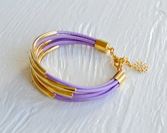 CLEARANCE  SALE  :  Purple Lilac Leather Cuff Bracelet with Gold Tubes ... DISCONTINUED