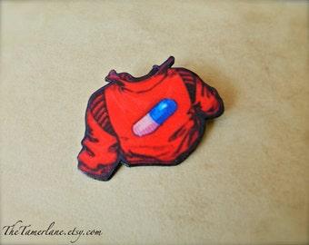 Akira Pill Jacket Brooch Pin Button Japanese Aname Anime Naota Nandaba Cowboy Bebop Good for Health Bad for Education