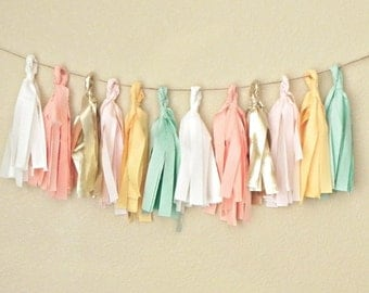 Tassel Garland, Tassel Banner, Fabric Tassel Garland, Pastel Garland, Mint and Pink Baby Shower, Mint and Gold, Blush and Gold, Garland