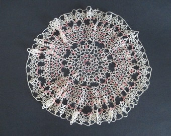 Tatted Doily Pink & Ivory Tatting
