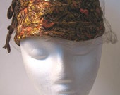 Vintage 1950s Gold Metallic Brocade Beehive Veiled Hat with Velvet Bow