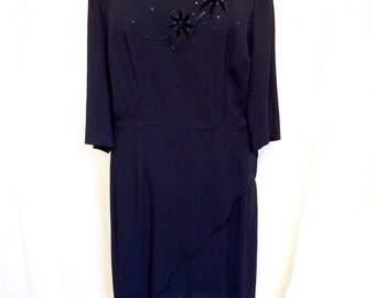 Vintage 1950s Navy Crepe Cocktail Dress with Beadwork & Peplum Size 16