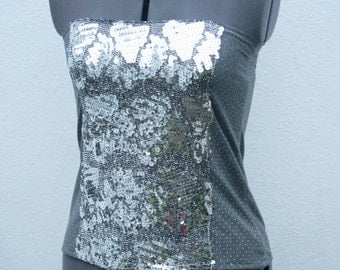 Silver and grey/ gray sequin and studs boob tube or strapless top o.o.a.k upcycled handmade in UK size 12-14 M-L
