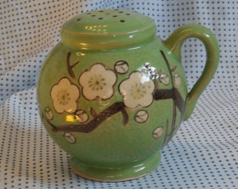 Green with Cherry Blossoms, Japan Made Sugar Shaker