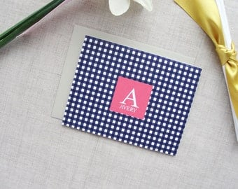 Monogram Stationery | Gingham Check Pattern | Set of 10 Personalized Folded Note Cards | Custom Colors