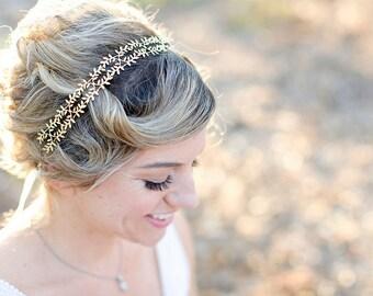 Delicate Silver Fern Leaf Crown -  Tie headband, Crown, Circlet, Bridal or Special Occasion Headband, Leaf Headband, hair accessory, wedding