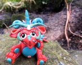 Polymer Clay Dragon 'FireFrost' - Limited Edition Handmade Collectible