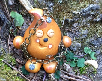 Steampunk PARKER - Polymer Clay Character Figurine - Gold
