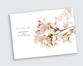 Save the Date - Cherry Blossoms - Card Stock or Magnet - DEPOSIT