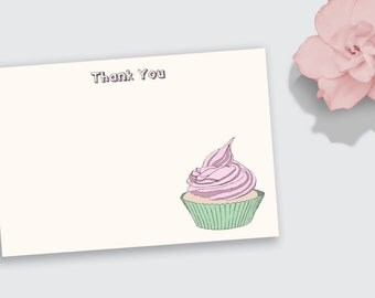 Notecard / Stationery - Cupcake - Personalized - Printable File