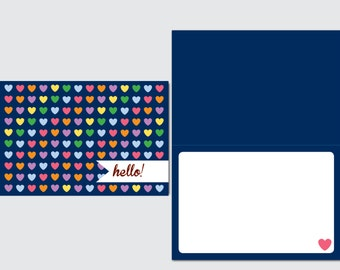 Notecard / Stationery - Personalized - Multicolor Hearts - Printable