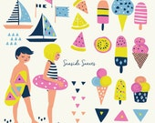 Ice Cream Popsicle Clipart Clip Art- Beach Sundae Seaside Ocean Seashore Kids Party Waves Flags Boats Floatie Lemon Melon Kiwi Geometric