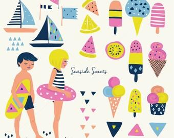 Ice Cream Popsicle Clipart Clip Art- Beach Sundae Seaside Ocean Seashore Kids Party Waves Flags Boats Floatie Lemon Melon Kiwi Geometric