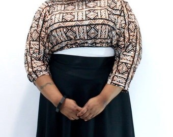 Plus Size Shrug Crop Top Bolero Coverup Fits sizes (14 -24) Orange and Black