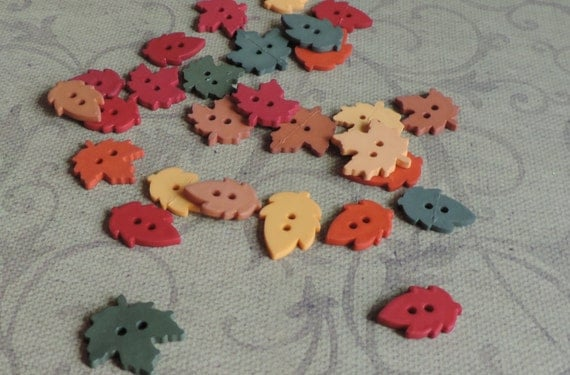 "Leaf Buttons, Packaged Novelty Button Assortment ""Fall Inspirations Collection Raking Leaves"" by Dress It Up, 2 Hole, Sewing, Crafting"