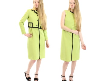 Vintage 60s Dress Cropped Jacket Suit Bolero Knee Length Sleeveless Sheath Dress Lime Green Mod Mad Men Suit Fall Fashion 1960s Medium M