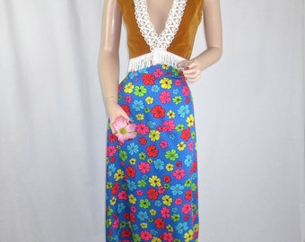 Vintage 1960's-1970's MOD Maxi Skirt - FAB Floral High Waisted Full Length Skirt - size Medium