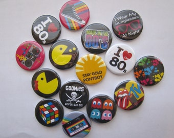 "Lot of  15 1.25"" or 1 inch  I love the 80's flatback, pinback, hollow back or magnet buttons"