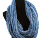 Large Cowl or Circle Scarf in Blue and Turquoise - Made to Order
