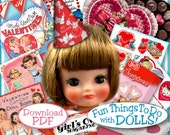 VALENTINE 1/6 scale Printables Vintage PDF small Dolls BARBIE Tiny Betsy Estelle Patsyette Riley Ginny Valentines Craft Print Out
