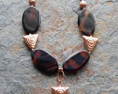 Agate statement necklace,  copper jewelry, modern tribal design, chunky stone statement necklace, goddess jewelry, copper and brown