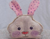 Primitive Bunny Head Folk Style Pillow Hand Painted Home Decor