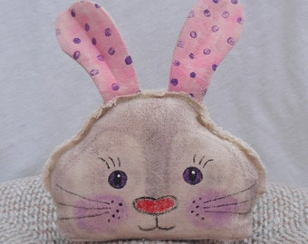 Primitive Bunny Head Folk Style Pillow Hand Painted Home Decor