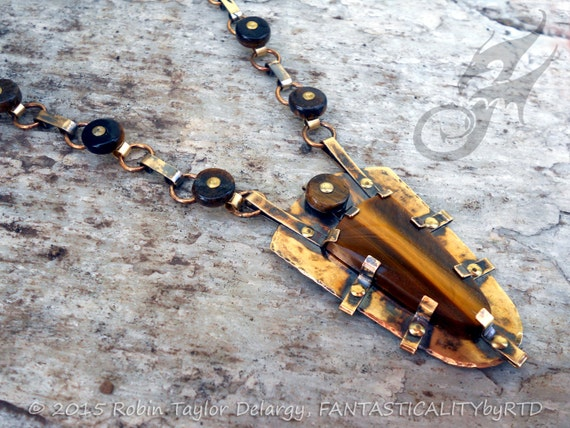 Metalwork Tiger's Eye Gemstone and Brass Shield Necklace with Handmade Riveted Chain ~ One of a Kind Fantasy Piece ~ #N0571 by RTD