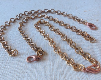 """Raw Brass Cable Chain (finished) 7.5"""" Charm Bracelet with Lobster Clasp"""