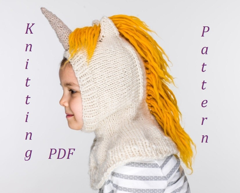 PDF Unicorn Balaclava Hat and Mittens Knitting Pattern