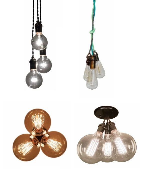 3 Cluster Color Choices Industrial Pendant By HangoutLighting